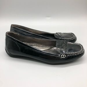 Sperry black patent leather penny loafers flats